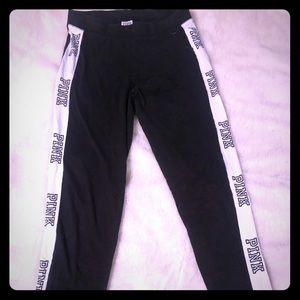 PINK leggings sz. Large black and white.